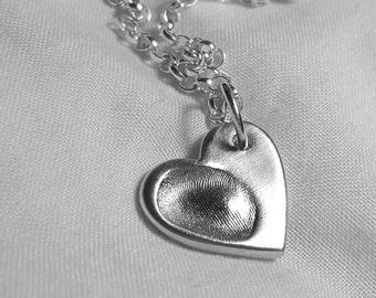 FINGERPRINT NECKLACE Personalized Silver Fingerprint Jewellery Chain Pendant Charm