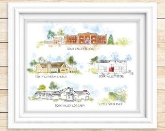 SIOUX VALLEY MN   Watercolor Print  Sioux Valley Minnesota Mn Historic Art Print Lakefield, Mn Lake Park Iowa Spirit Lake Iowa