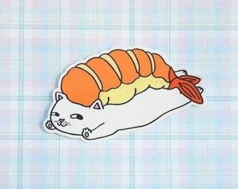 Ebi (Prawn) Kitty Vinyl Sticker