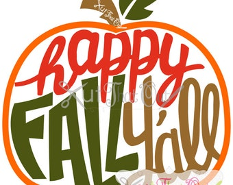 EXCLUSIVE Happy Fall Y'll Pumpkin SVG and DXF File