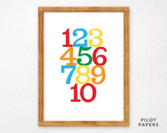 counting numbers poster for baby, nursery, toddler, kids room 18x24