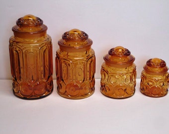 Moon and Stars Canister Set Canisters Apothecary Amber with Grounded Top