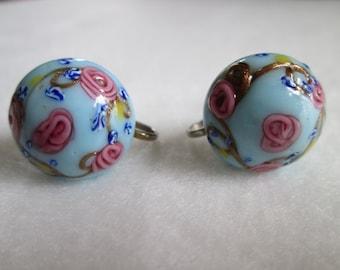 Vintage Blue Venetian Glass Wedding Cake Screw Back Earrings Pinks Yellows Golds Whites Silver Tone Metal