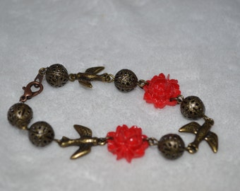 Red Floral Bronze Bird Bracelet