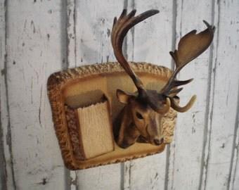 Deer head,vintage plastic hunting trophy, hunting souvenir, made in France, plastic fantastic