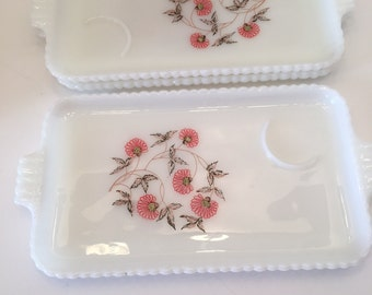 Vintage Anchorglas  Fire King Milk Glass Fleurette Snack Trays or Plates Three Trays  Anchor Hocking