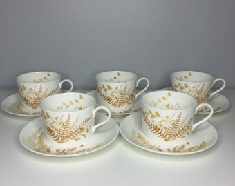 set of five vintage Mikasa Vera Neumann lacy fern brown bone china cups and saucers