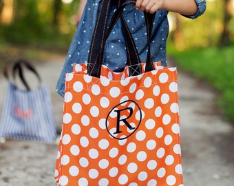 Halloween Treat Tote Orange/White dot tote candy bag trick or treat tote