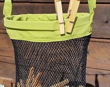 Laundry Peg Bag, Mesh Clothespin Bag/ Clothesline Bag (Sturdy, American Made, Hand crafted) Great for the clothesline or organizing.