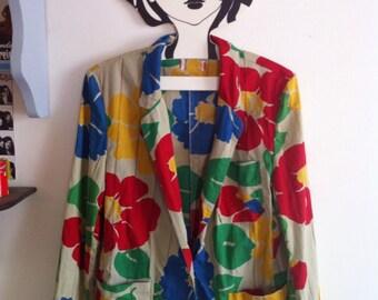 80s summer jacket, big flowers print in primary colors / medium