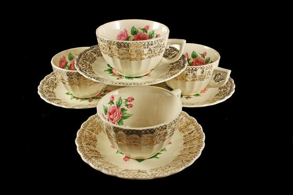 Cups and Saucers, Sebring Pottery, China Bouquet, Pink Roses, Gold Filigree Trim, Set of 4
