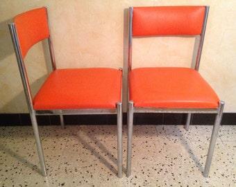 Columbus CREATION foot Metal Vintage years 70 x 2 Orange leather chair