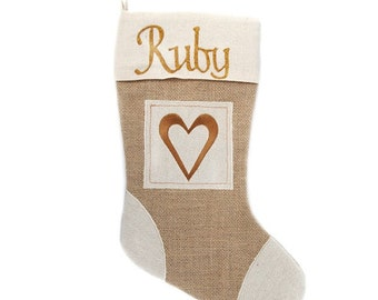 Personalised Burlap Heart Christmas Stocking