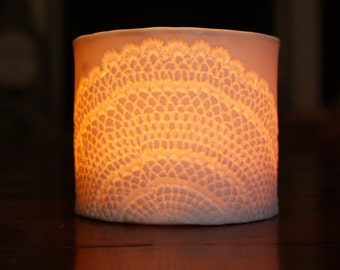 Porcelain tea light candle holder