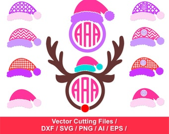 Santa hats circle monogram frames / Christmas SVG / svg, dxf, ai, eps, png / Santa Claus Hats SVG  / Christmas Cut Files