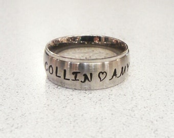 Wide Stainless Steel Personalized Ring