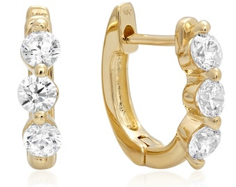 0.6 Ct SIMULATED DIAMOND 3-Stone Round Cut Drop Dangle Leverback Earrings 14K Yellow Gold Summer Jewelry Gift
