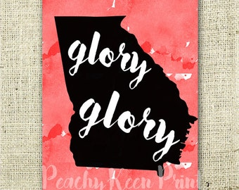 Printable University of Georgia Spirit Sign // Instant Download UGA Bulldogs Glory Glory Sign