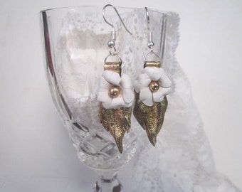 Gold and White Kangaroo Leather Earings