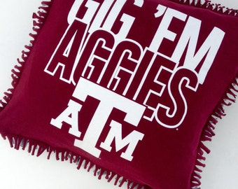Texas A&M Aggie Maroon, Gray and White Pillow Cover