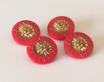 Red and gold vintage glass button lot-4pc