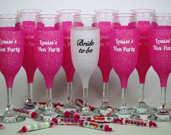 Glitter Hen Party Champagne Glasses, Hen Party, Wedding Glasses, Hen