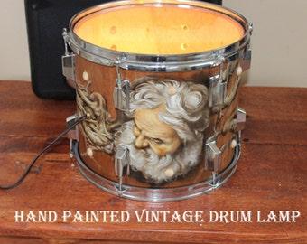 Hand painted vintage drum lamp