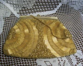 Stunning Gold Beaded Evening Bag
