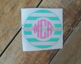 Stripe monogram decal yeti cup decal car decal vinyl decal monogram decals
