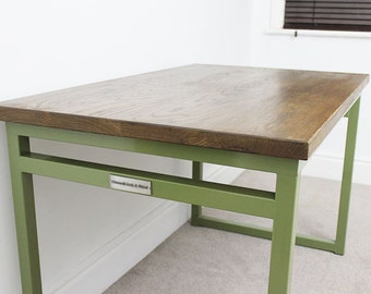 4ft Powder Coated Remington Industrial Style Oak Office Desk Table Olive Green