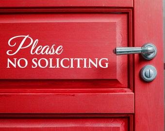No Soliciting Door Decal - Front Door Sticker, No Soliciting Sticker