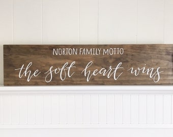 Family motto sign | custom hand painted wood sign | 7x30