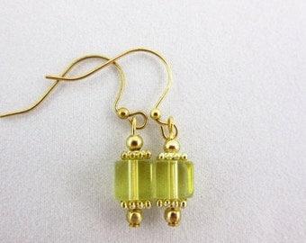 SALE 20% OFF Yellow Glass Earrings Handmade Dangle Earrings