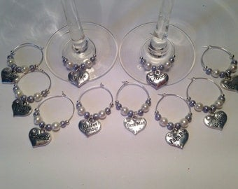 Wedding Wine Glass Charms Top Table Gift Favour Bride Groom (10)
