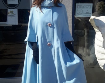 Beautiful Baby Blue Debutogs cape with pockets! Free shipping 0-Plus size from RCMooreVintage