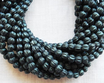Fifty 3mm Forest Green, dark Sueded, Suede Metallic Green melon beads, Czech pressed glass beads C8550