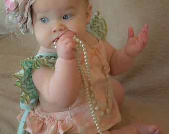 Baby ruffled romper and baby sunsuit with ruffles  in pink/mint/gold/lace