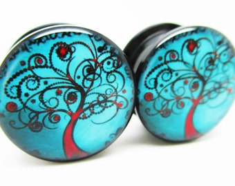 Brand New *Pair* Blue & Red Tree of Life Ear Plugs - Acrylic Screw-On - 8 Sizes