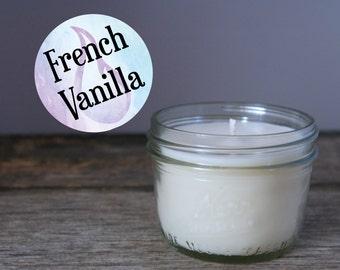 Mason Jar Soy Candle - French Vanilla - Half Pint - Hand Poured