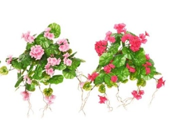 Artificial Flowers Geranium Trail Hanging Basket