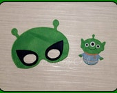 Alien Mask and Finger Puppet Set  Space UFO  Felt Dress Up Masks  Birthday Party Favor Halloween