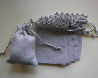 "10 Linen Bags with Lace * Wedding Gifts * Drawstring Pouch * Coin Wallet * 3""x 4"" (8cm x 10cm)"