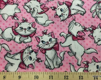 Disney Aristocats Fabric Marie Paris Kitty Cat Pink Kitten Feline Pink & White Cotton Quilt Fabric By the Yard, FQ t5/14