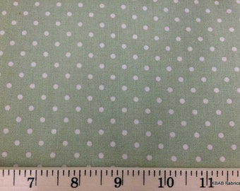 Sage Green Polka Dot Fabric By the Yard / Half Yard Shabby Chic Fabric Sage Green Polka Dot Fabric 100% Cotton Quilting Apparel Fabric t1/7