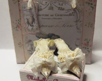 Dolls House Miniature Cream Silk Brocade Wedding Shoes