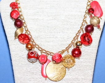 Valentines Red And Gold Cluster Charm Necklace Calika beads