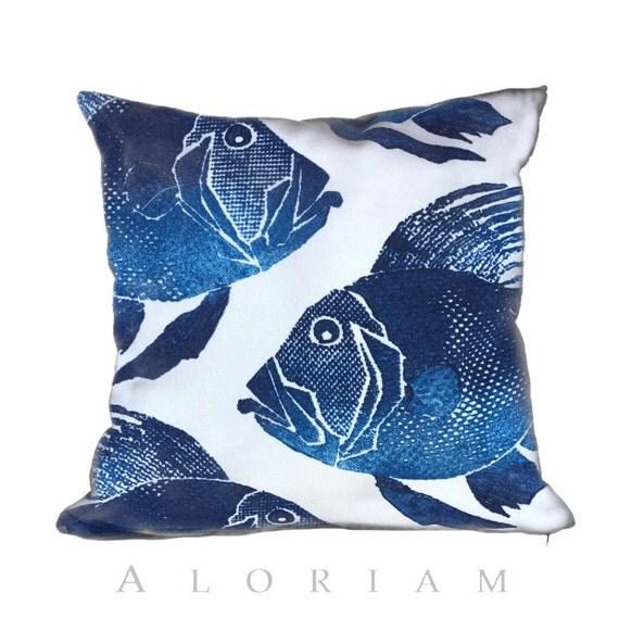 Big Blue Throw Pillows : Items similar to Big Blue Fishes Aquatic Ocean Theme Decorative Throw Pillow Cushion Cover Case ...