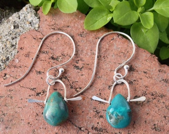 Sterling dipped tear drop turquoise earrings