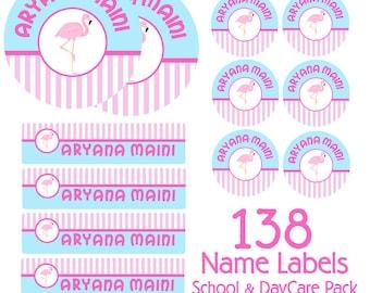 Flamingo Kids School Labels Starter Pack - Day Care Waterproof Labels, Kids Name Labels