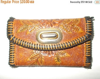 SALE 25% OFF Vintage brown leather purse 60s 70s floral embossed hand stitched